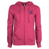 ENZA Ladies Fuchsia Fleece Full Zip Hoodie-NC A&T Aggies