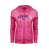 ENZA Ladies Fuchsia Fleece Full Zip Hoodie-Arched North Carolina A&T