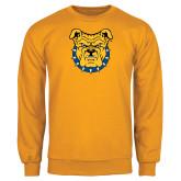 Gold Fleece Crew-Bulldog Head