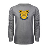 Grey Long Sleeve TShirt-Bulldog Head