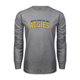 Grey Long Sleeve TShirt-Arched North Carolina A&T Aggies