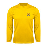 Performance Gold Longsleeve Shirt-Bulldog Head