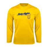 Performance Gold Longsleeve Shirt-Softball Script on Bat