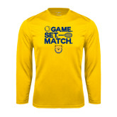 Syntrel Performance Gold Longsleeve Shirt-Tennis Game Set Match