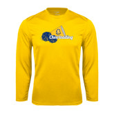 Syntrel Performance Gold Longsleeve Shirt-Cheerleading Megaphone & Pom Poms
