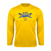 Performance Gold Longsleeve Shirt-Baseball Crossed Bats