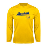 Performance Gold Longsleeve Shirt-Baseball Bat