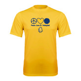 Performance Gold Tee-Peace Love Volleyball