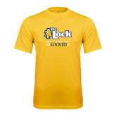 Performance Gold Tee-AT-The Lock-Aggie Athletics Get Locked In