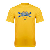 Performance Gold Tee-Baseball Crossed Bats