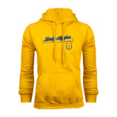 Gold Fleece Hoodie-Softball Script on Bat