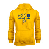 Gold Fleece Hood-Peace Love Volleyball