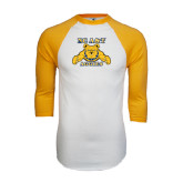 White/Gold Raglan Baseball T-Shirt-NC A&T Aggies