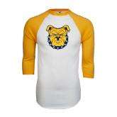 White/Gold Raglan Baseball T-Shirt-Bulldog Head