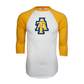 White/Gold Raglan Baseball T-Shirt-AT