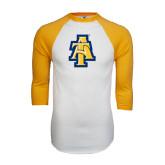 White/Gold Raglan Baseball T-Shirt-AT