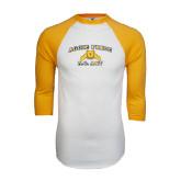 White/Gold Raglan Baseball T-Shirt-Aggie Pride