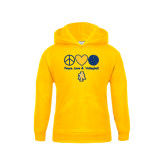Youth Gold Fleece Hood-Peace Love Volleyball