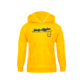 Youth Gold Fleece Hoodie-Softball Script on Bat
