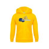 Youth Gold Fleece Hoodie-Cheerleading Megaphone & Pom Poms