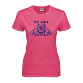 Ladies Fuchsia T Shirt-NC A&T Aggies