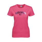 Ladies Fuchsia T Shirt-Arched North Carolina A&T