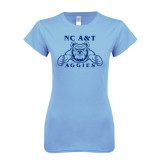 Ladies SoftStyle Junior Fitted Light Blue Tee-NC A&T Aggies