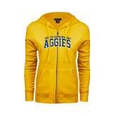 ENZA Ladies Gold Fleece Full Zip Hoodie-Arched North Carolina A&T Aggies