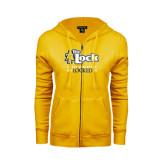 ENZA Ladies Gold Fleece Full Zip Hoodie-AT-The Lock-Aggie Athletics Get Locked In
