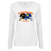 Ladies White Long Sleeve V Neck T Shirt-Celebration Bowl - VS Design