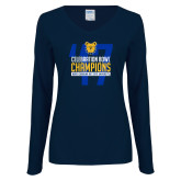 Ladies Navy Long Sleeve V Neck Tee-2017 Celebration Bowl
