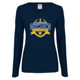 Ladies Navy Long Sleeve V Neck T Shirt-2017 Celebration Bowl