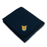 Navy Arctic Fleece Blanket-Bulldog Head