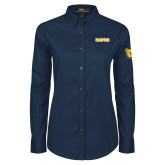 Ladies Navy Twill Button Down Long Sleeve-2017 Celebration Bowl