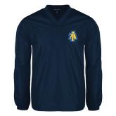 V Neck Navy Raglan Windshirt-AT