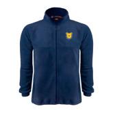 Fleece Full Zip Navy Jacket-Bulldog Head