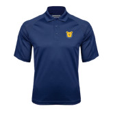 Navy Textured Saddle Shoulder Polo-Bulldog Head