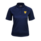 Ladies Navy Textured Saddle Shoulder Polo-Bulldog Head