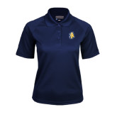 Ladies Navy Textured Saddle Shoulder Polo-AT