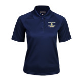 Ladies Navy Textured Saddle Shoulder Polo-Alumni