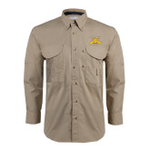 Khaki Long Sleeve Performance Fishing Shirt-NC A&T Aggies
