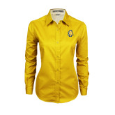 Ladies Gold Twill Button Down Long Sleeve-AT