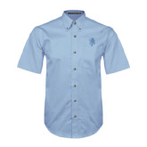 Light Blue Twill Button Down Short Sleeve-AT
