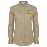 Ladies Khaki Twill Button Down Long Sleeve-NC A&T Aggies
