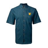 Denim Shirt Short Sleeve-Bulldog Head