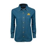 Ladies Denim Long Sleeve Shirt-NC A&T Aggies