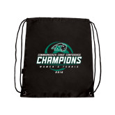 Black Drawstring Backpack-2016 Commonwealth Coast Conference Champions - Womens Tennis Spiral