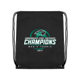 Black Drawstring Backpack-2017 Commonwealth Coast Conference Champions - Mens Tennis Spiral