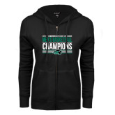 ENZA Ladies Black Fleece Full Zip Hoodie-2017 Mens Basketball Champions Stacked