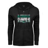 ENZA Ladies Black Fleece Full Zip Hoodie-2017 Mens Basketball Champions Stacked